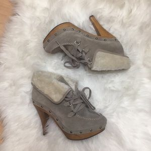 Guess Suede & Fur Taupe Lace-Up Boots
